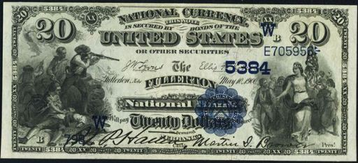 1882 blue seal twenty dollar