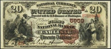 1882 brown back-twenty dollar